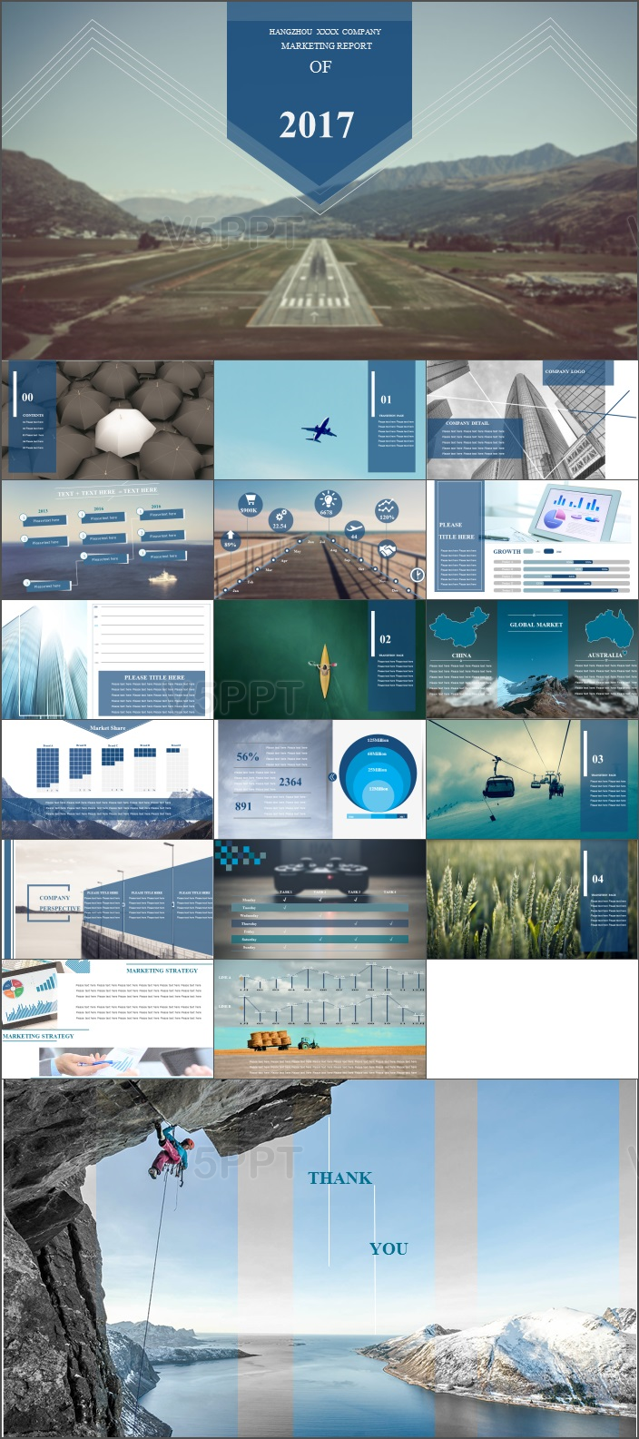 2017蓝色大气欧美风工作计划总结商务PPT模板
