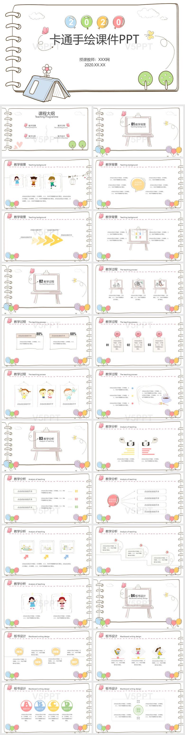 创意儿童手绘风课件说课ppt模板
