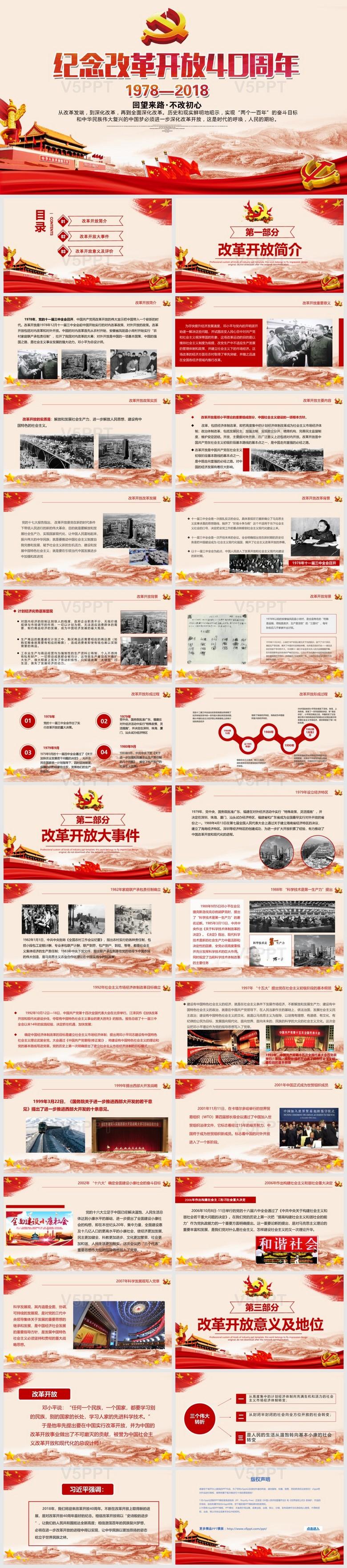 纪念改革开放40周年将改革进行到底党建PPT