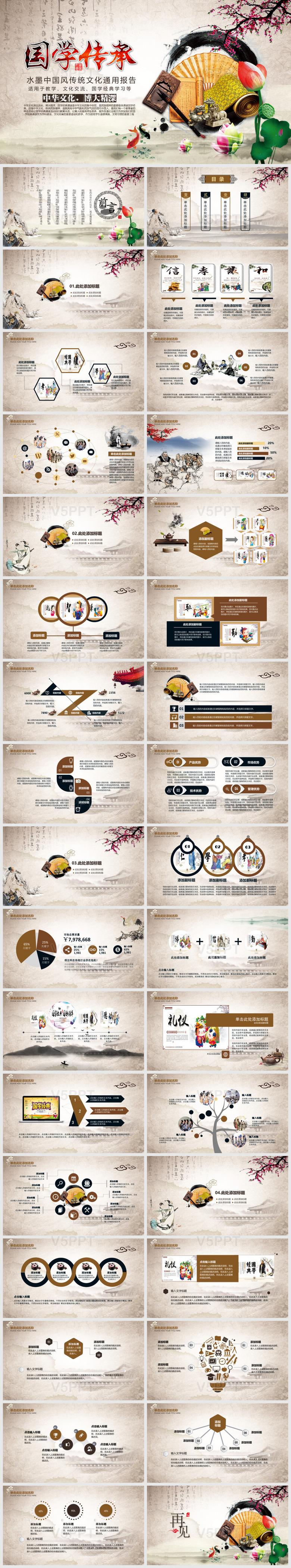 水墨中国风传统文化文化交流国学经典学习PPT模板国学经典1