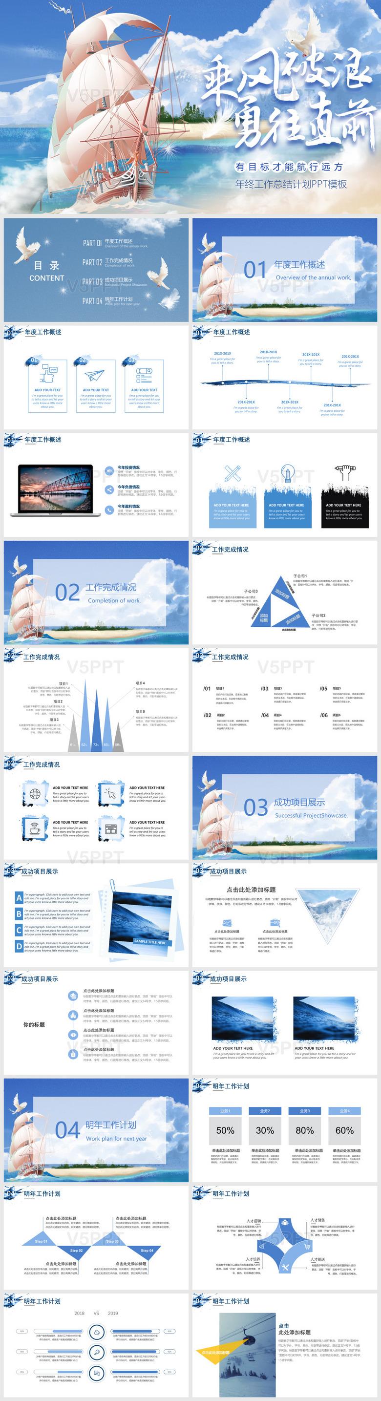 乘风破浪蓝色商务年终工作总结汇报计划PPT模板