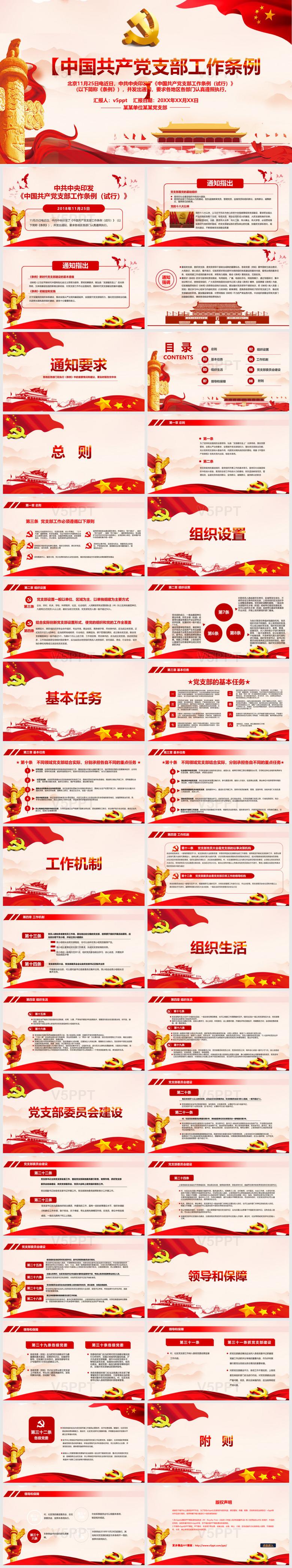 中国共产党支部工作条例解读党课教育党建通用PPT模板