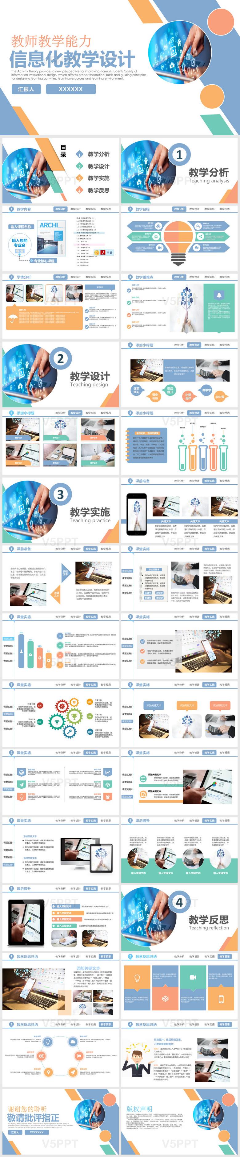 商务风几何通用信息化科技教学课件公开课PPT模板说课