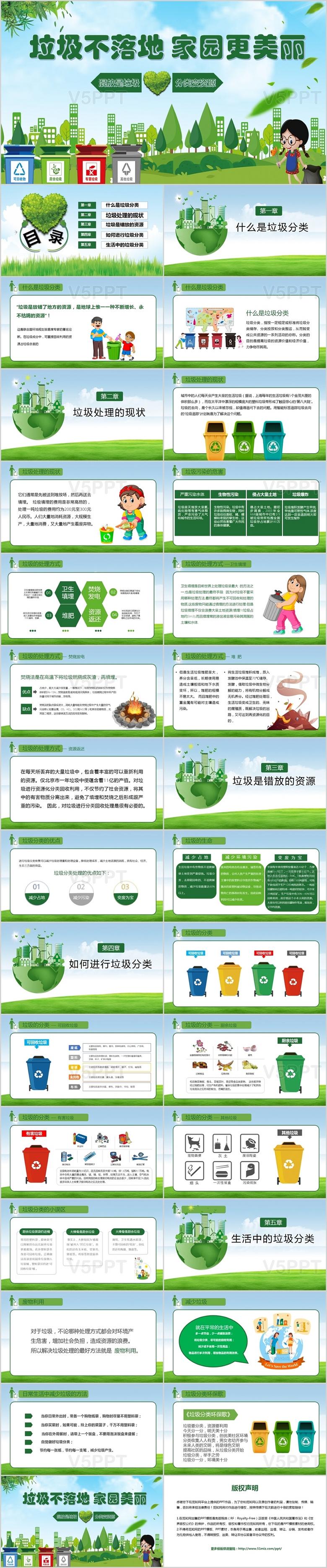 绿色水彩清新垃圾分类从我做起卡通儿童主题班会课件ppt模板